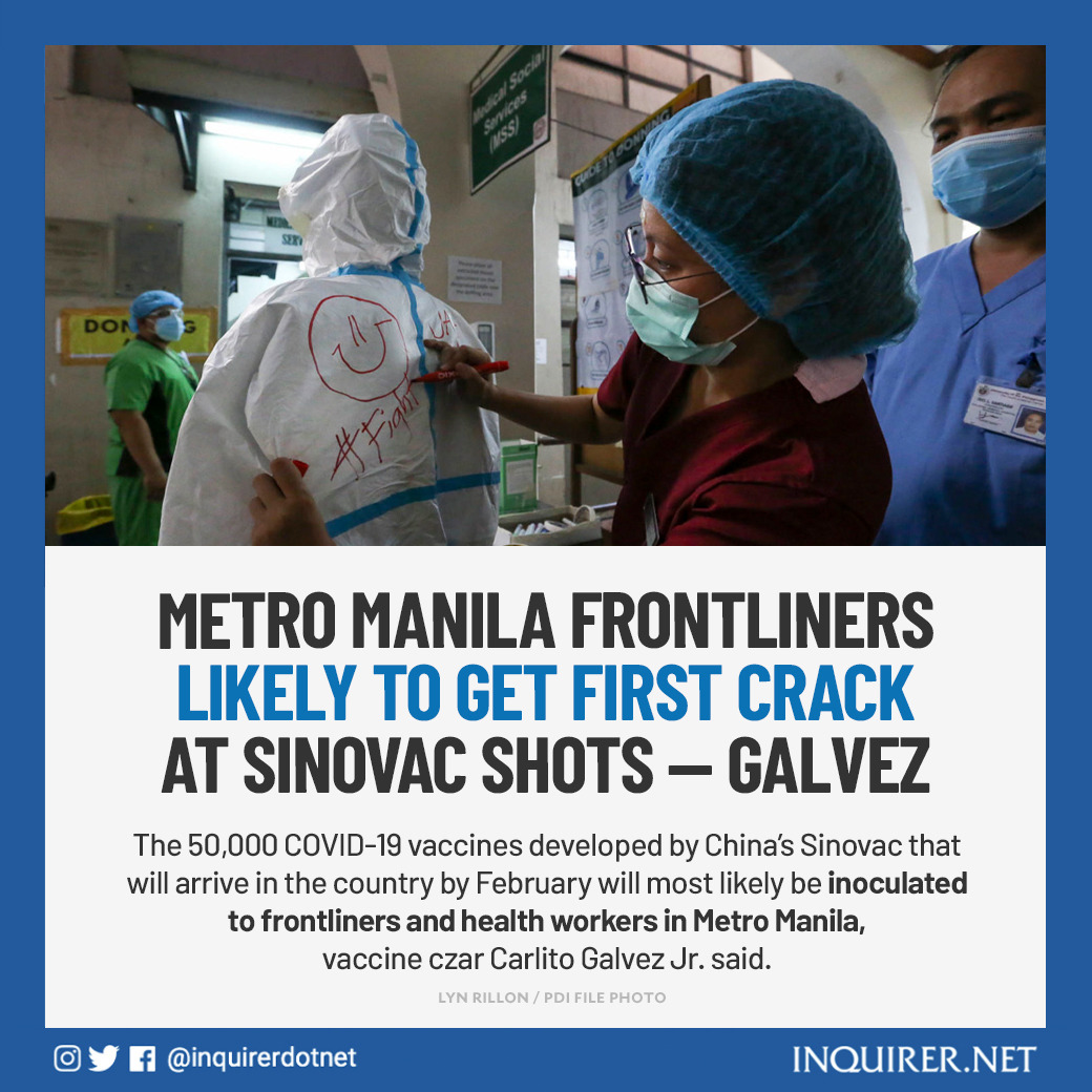 """Vaccine czar Carlito Galvez Jr. said the vaccination set for next month will be a """"dress rehearsal"""" for the national rollout of the vaccines."""