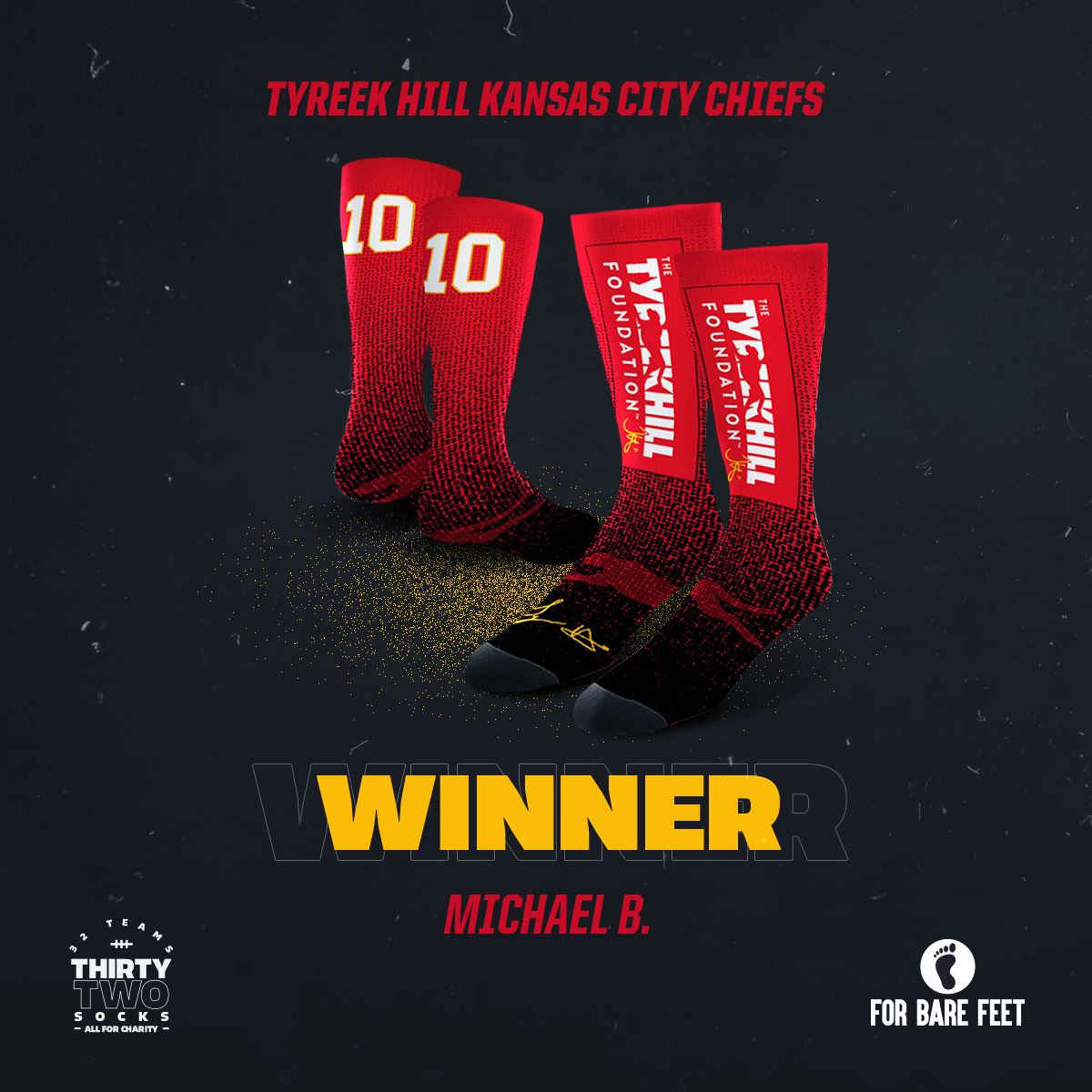 Thank you @ForBareFeet and everyone that helped support The Tyreek Hill Foundation through the #32Teams32Socks Charity Auction! A special congrats to auction winner Michael B.
