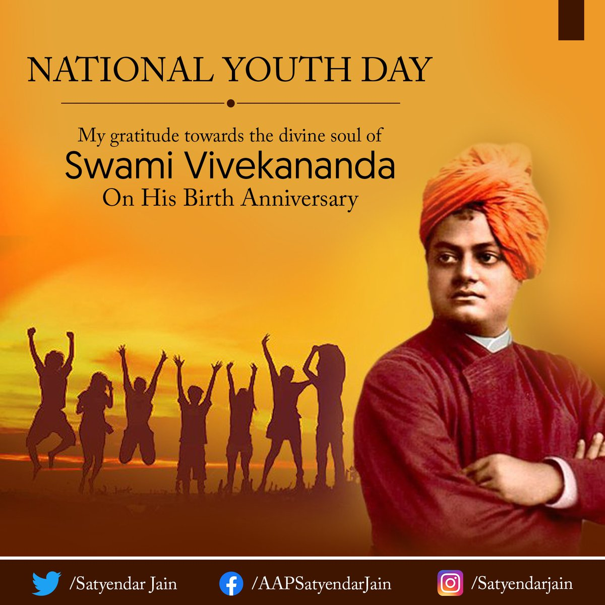 """""""Take up one idea. Make that one idea your life; dream of it; think of it; live on that idea."""" This is the way to success!  Remembering the great Swami Vivekananda ji on his birth anniversary.. #SwamiVivekanandaJayanti"""