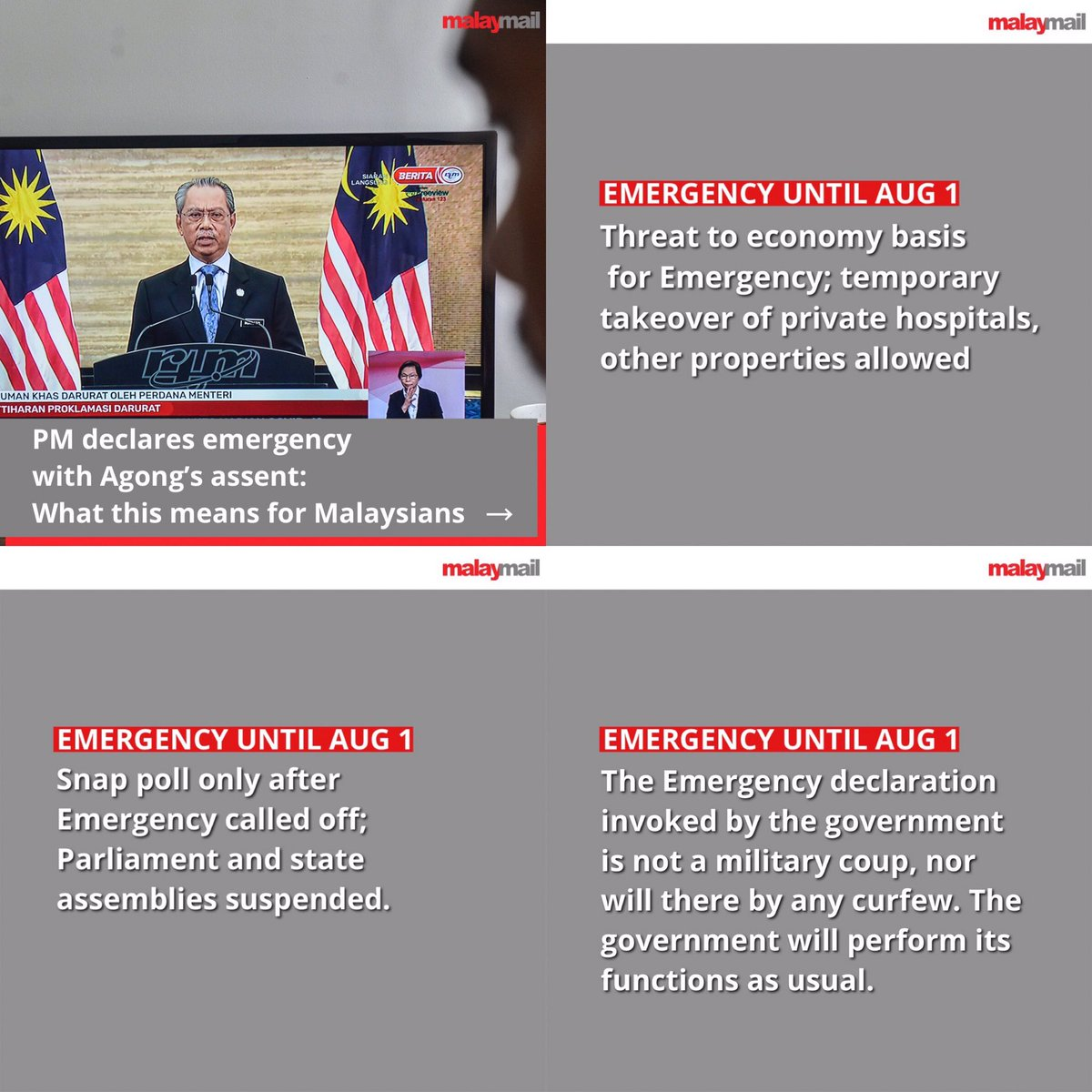 """What is the meaning of a """"State of Emergency"""" in #Malaysia? It is all a cover up for a political move.   Fun fact - @MuhyiddinYassin doesn't have the majority in parliament so this is how he retains power. Get the picture yet?   Sickening... #darurat #MuhyiddinOut https://t.co/85NHZ63X0v"""