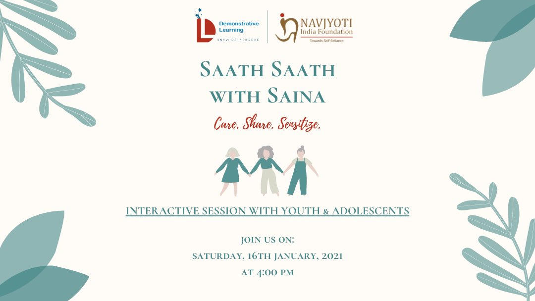 Join us 🕊 Topic: Saath Saath with Saina Time: Jan 16, 2021 04:00 PM India  Join Zoom Meeting:   Meeting ID: 865 2173 6093 Passcode: 464679  Watch Live on Facebook:   #saathsaathwithsaina #share #care #sensitize