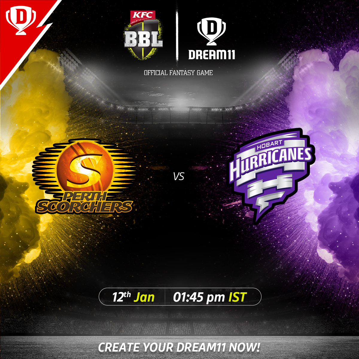 Which team will outperform the other when #PerthScorchers meet the #HobartHurricanes in #BBL10 today? 🤔  Download the app & create your #Dream11 now. Visit: . @BBL