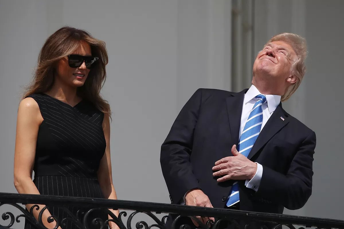 Since Trump's almost out of office, I figured this would be a fun time to remind everyone of the weirdest & dumbest sh*t our failed dictator did in the last four years that we totally forgot about.  Starting with a classic:  STARING DIRECTLY INTO THE SUN DURING A SOLAR ECLIPSE