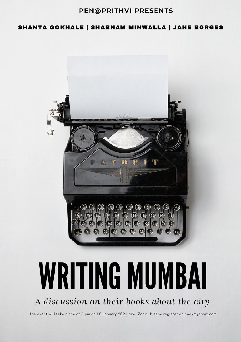 We are in good company! Join our authors Shanta Gokhale ('Shivaji Park') and Shabnam Minwalla ('Colaba'), with @janeborges9 ('Bombay Balchão') in conversation with @suhitkelkar (convenor, PEN@Prithvi) at 6 PM IST on Saturday, 16 January 2021.  Big thanks to @ranjithoskote!