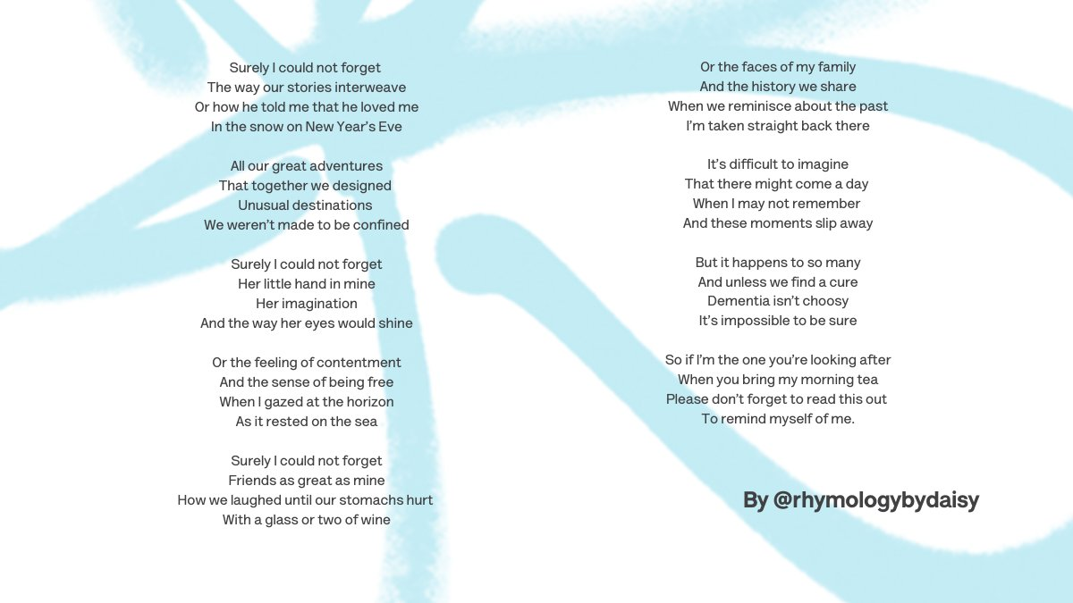 'It's difficult to imagine  That there might come a day  When I may not remember  And these moments slip away.'  Thank you to Daisy Watson for this beautiful poem.   If you're affected by dementia and need support our Dementia Connect support line can help on 0333 150 3456.