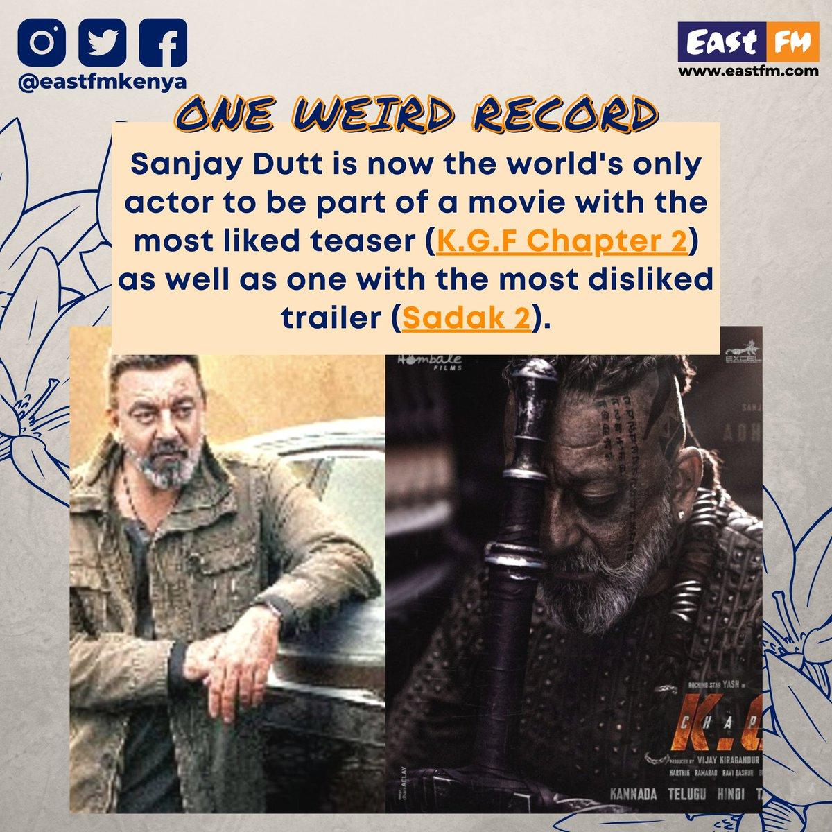 #SanjayDutt is now the world's only #actor to be part of a #movie with the most liked teaser (K.G.F Chapter 2) as well as one with the most disliked trailer (Sadak 2). • • • • #KGFChapter2 #KGF #Sadak2 #Sadak #Sanjay #Dutt #SanjayDuttFans #Bollywood #EastFM