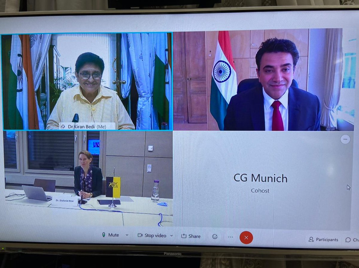 HLG @thekiranbedi held a discussion with Dr. Stephanie Hinz, President of Police, State of Boden - Wurttemberg, Germany. In presence of Shri. Mohit Yadav IFS, Consul General of India, Munich, Germany. @DrSJaishankar @MEAIndia @mohityadavIFS @eoiberlin @RegierungBW @IMbawue