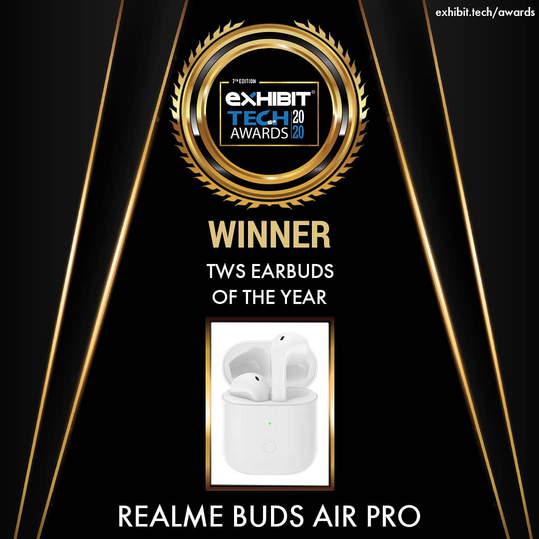True Wireless Buds (TWS) are essential for an active lifestyle. With Realme Buds, Air Pro sits pretty on our ears with winning the title for Exhibit Tech Award for the best TWS earbuds of the year.  @realmemobiles #RealmeBudsAirPro #exhibittechawards20