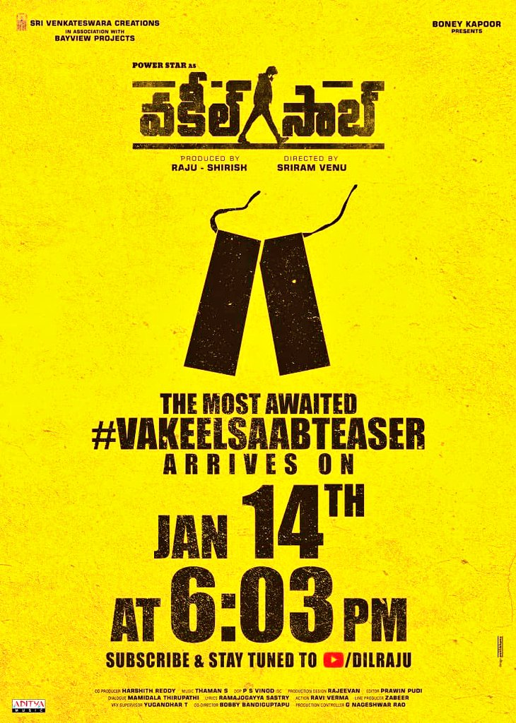 .@PawanKalyan's #VakeelSaabTEASER launches on Jan 14th at 6:03 PM. Good luck to the cast and crew of the film 🤗  #Sidk @SVC_official #SriramVenu @shrutihaasan @i_nivethathomas @yoursanjali @AnanyaNagalla @SVC_official @BayViewProjOffl @BoneyKapoor @MusicThaman
