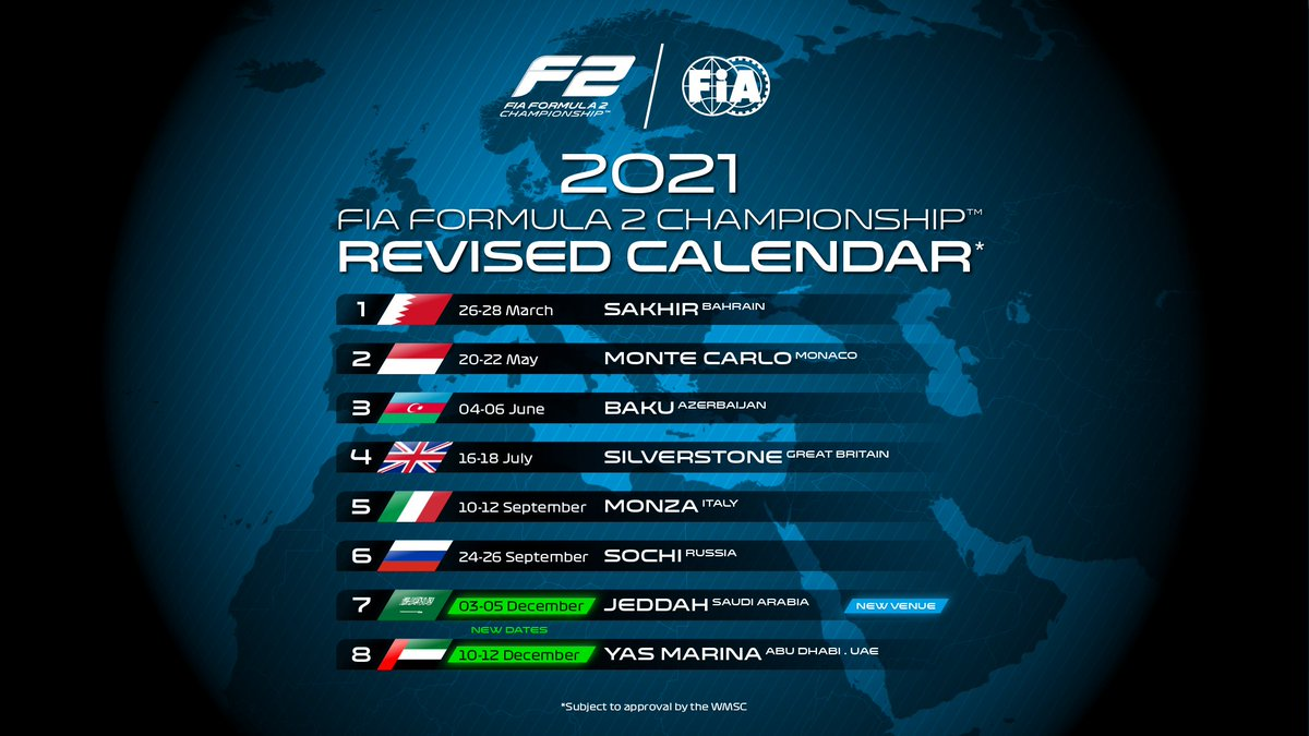 New dates for Jeddah and Yas Marina!👇  #F2 #AllezLesBleus