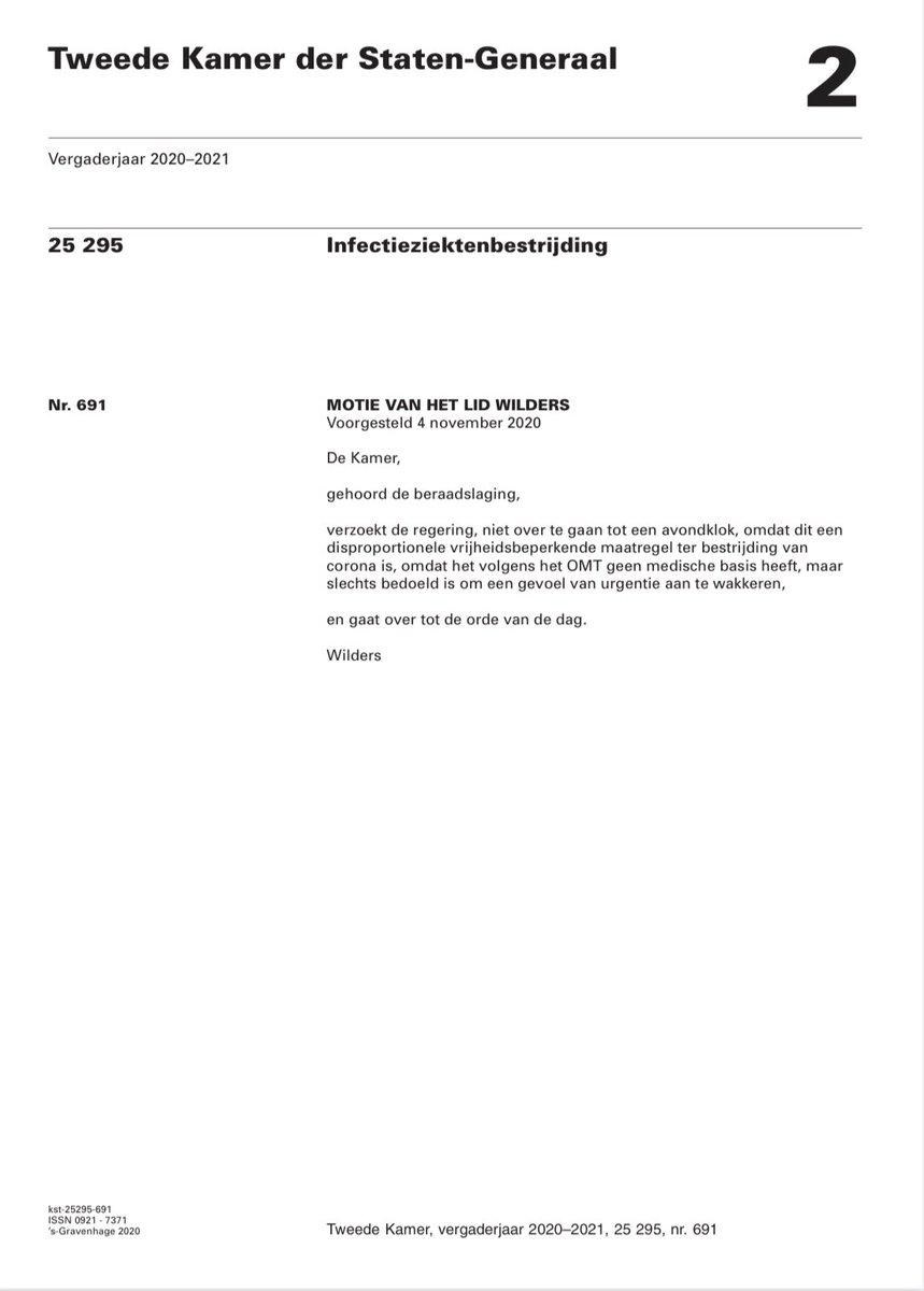 Motie #PVV TEGEN #avondklok al in november aangenomen!   Alleen VVD, CDA en CU stemden tegen. D66 steunde mijn motie wél, even kijken of ze nog iets van een ruggengraat over hebben en tegen deze disproportionele vrijheidsbeperking blijven!   #coronamaatregelen #corona