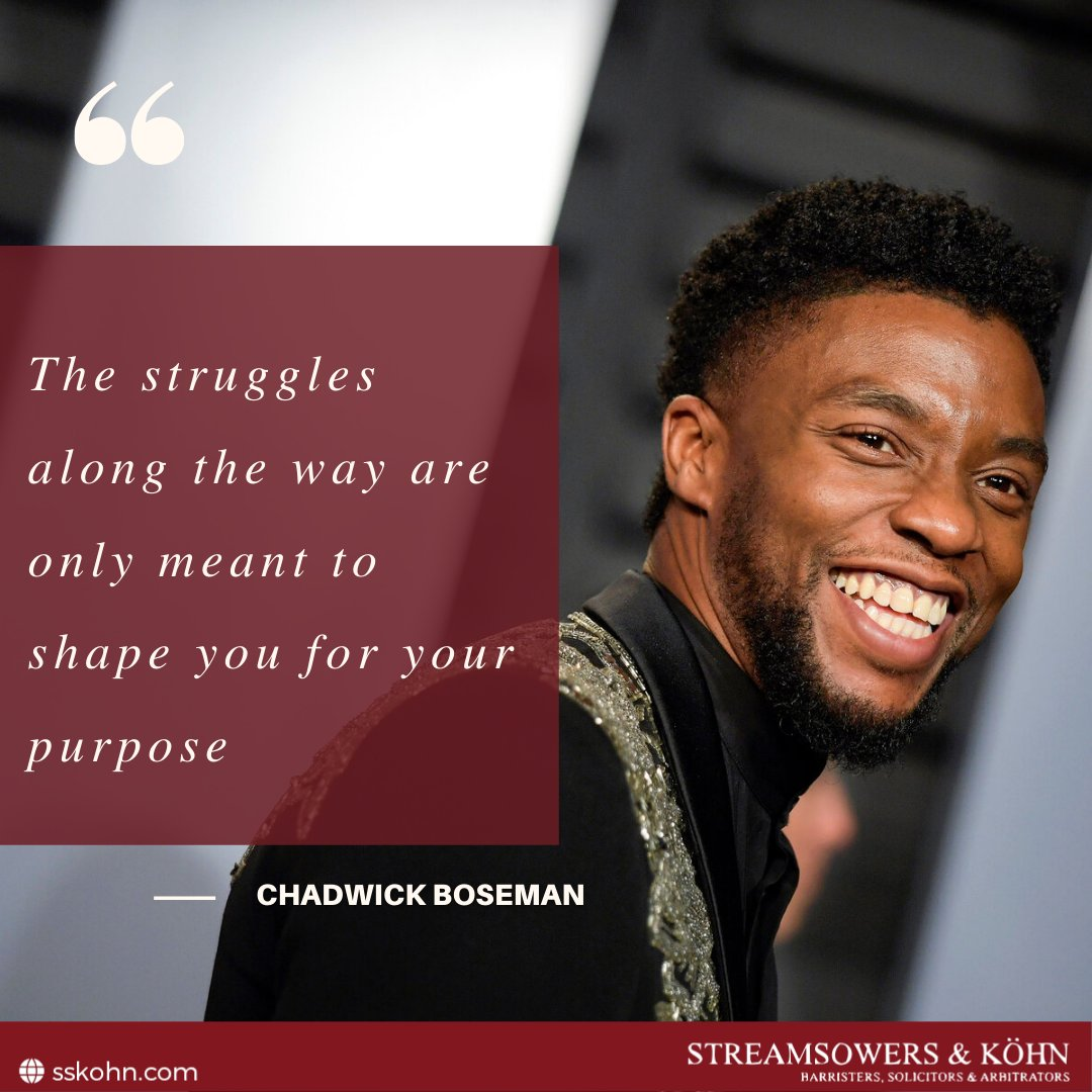 The struggles along the way are only meant to shape you for your purpose.  #QOTD #Chadwick Boseman #SSKohn #WeAreSSKohn https://t.co/vznWVbtpOO