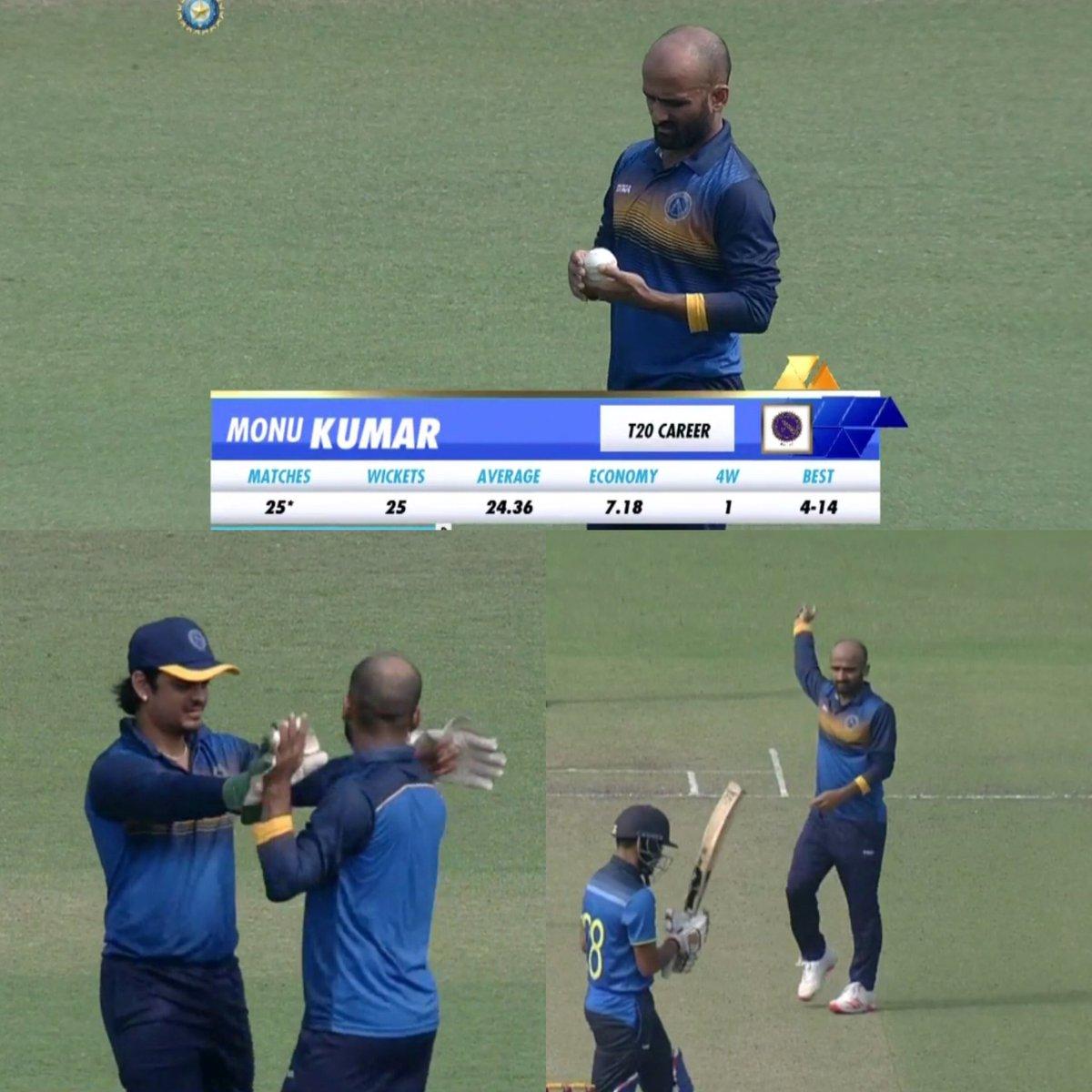 Top spell from Monu singh against Bengal in Syed Mushtaq Ali Trophy  4️⃣overs 3️⃣0️⃣ runs 3️⃣ wickets  #JHAvBEN #SyedMushtaqAliT20