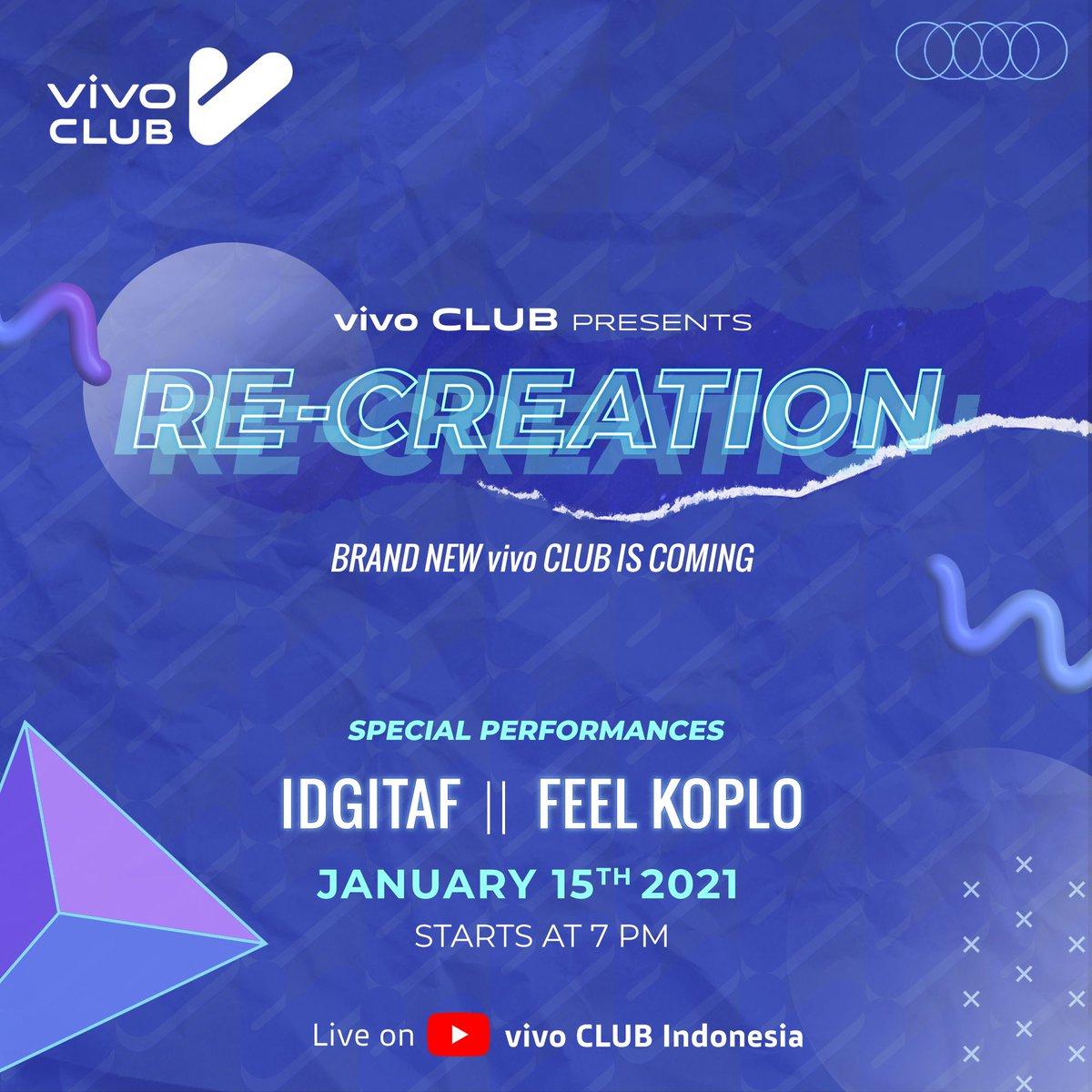 vivo CLUB Indonesia punya logo dan interface baru yang akan launching di Re-creation event pada hari Jumat, 15 Januari 2021, jam 19.00 WIB.  Nantikan special performance dari @idgitaf dan @feelkoplo ya! Live di YouTube vivo CLUB Indonesia. #vivoCLUBIndonesia #vivoACLUBRecreation