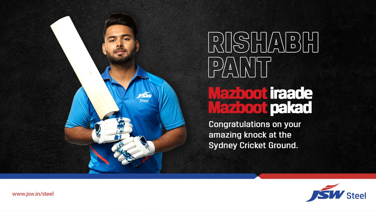 To the man who justifies #MazbootPakad💯  Congratulations, @RishabhPant17 & Indian Cricket Team👏🏻  #JSWNeosteel #JSWColouron+