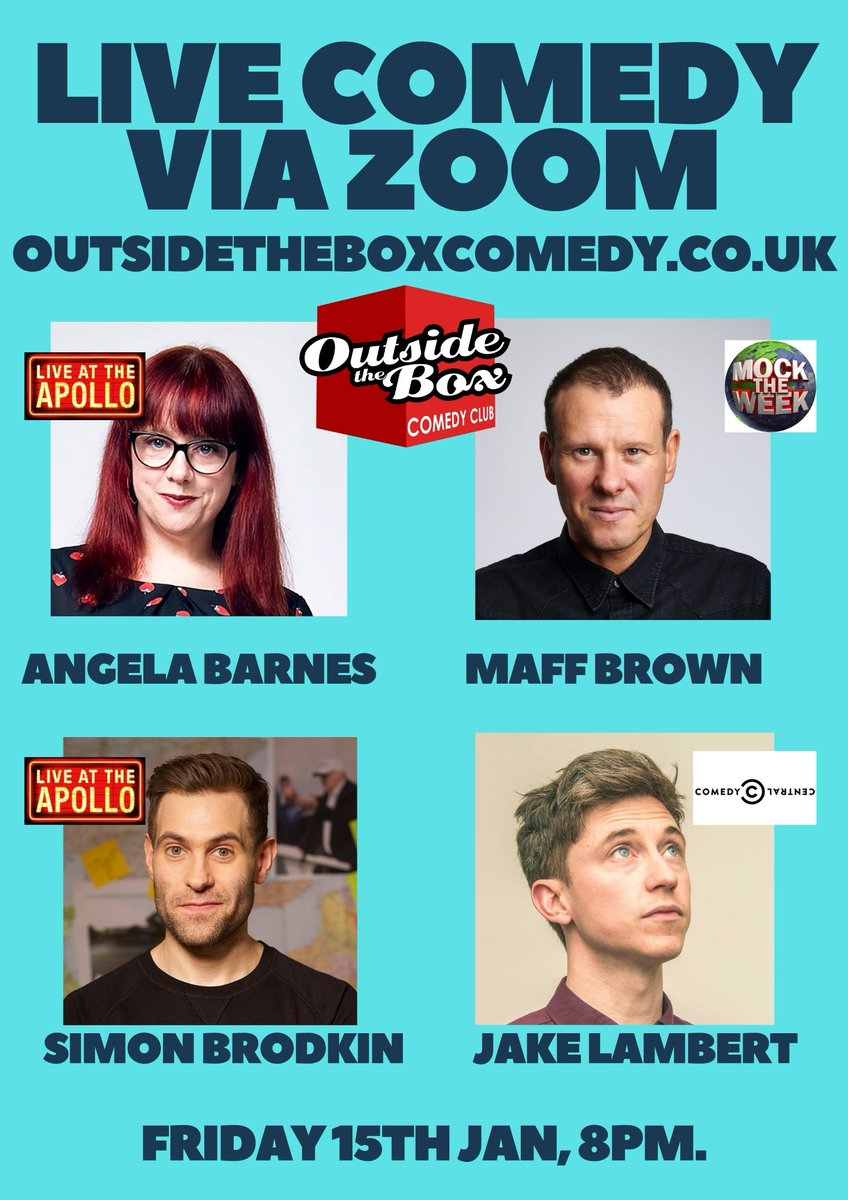 RT @OTBcomedy Hell of a line up on Friday 15th Jan on Zoom. All 4 acts are TV Faces!!  @AngelaBarnes (Live at the Apollo) @maffbrown (Mock the Week) @SimonBrodkin (Live at the Apollo) @LittleLostLad (Comedy Central)  Tickets only £6 and are limted! Get them here https://t.co/AmwmVMXrwU RT!
