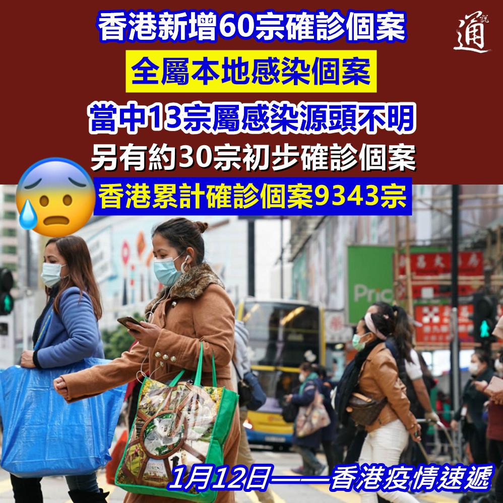 【疫情反彈!#香港今日新增60宗確診病例】 #香港新冠肺炎疫情今日(12日)反彈,衞生署衞生防護中心公布,過去一日新增60宗確診,全屬本地感染個案,當中有13宗屬感染源頭不明。新填地街20號、22號、24號和26號單位需要強制檢測。另有約30宗初步確診個案。 https://t.co/PT74OgGP0f