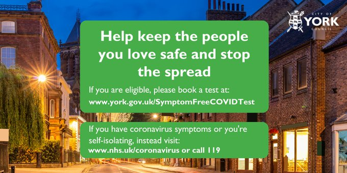 Help keep the people you love safe and stop the spread. If you're eligible please book a test at the website in the message. If you have symptoms or you're self-isolating visit nhs.uk/coronavirus or call 119 instead