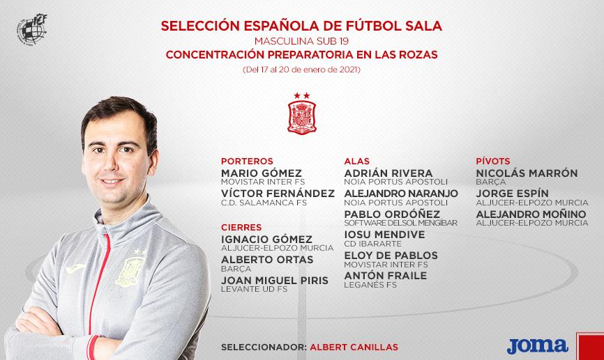 🚨 OFICIAL | @CaniAlbert da la lista de la @SeFutbol Sub-19 de #FutSal para la concentración de enero.  🆚 El seleccionador llama a 14 jugadores, que se enfrentarán a la Selección Sub-18 en un partido de entrenamiento el próximo 20 de enero.  🔗