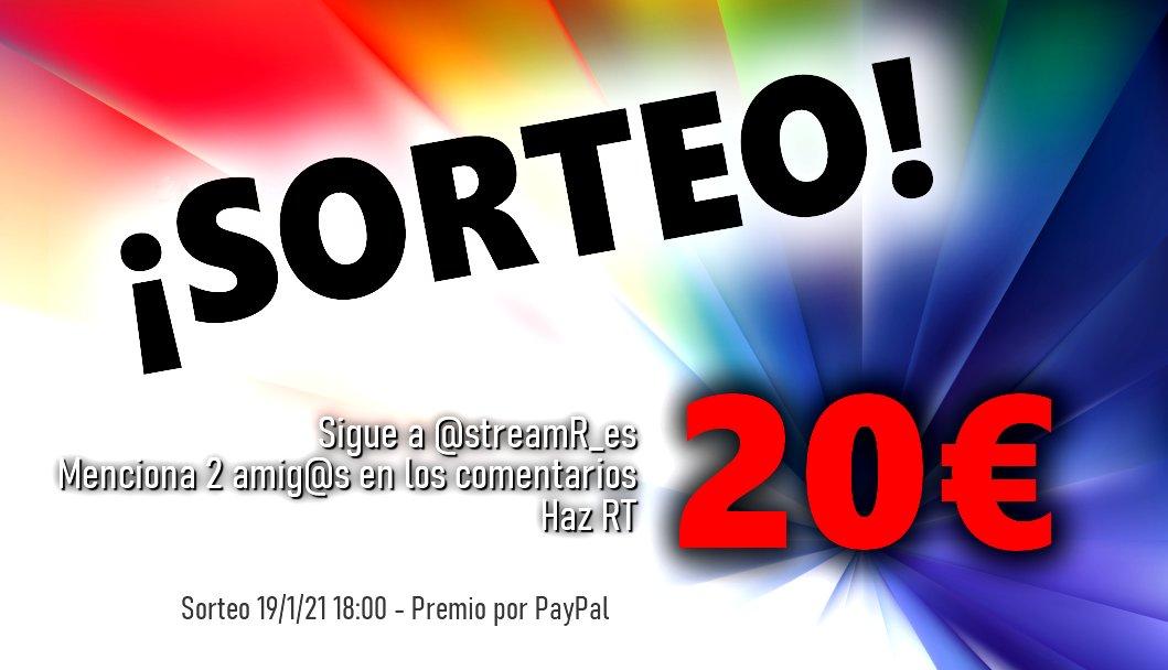 💥💥¡SORTEO! 💥💥  Celebramos los 15k seguidores sorteando 20€  Participa 👇  🔴 Síguenos @streamR_es  🔴 Menciona a 2 amig@s 🔴 RT  🍀Suerte! ⏳ Finaliza: 19/1/21 - Premio vía PayPal