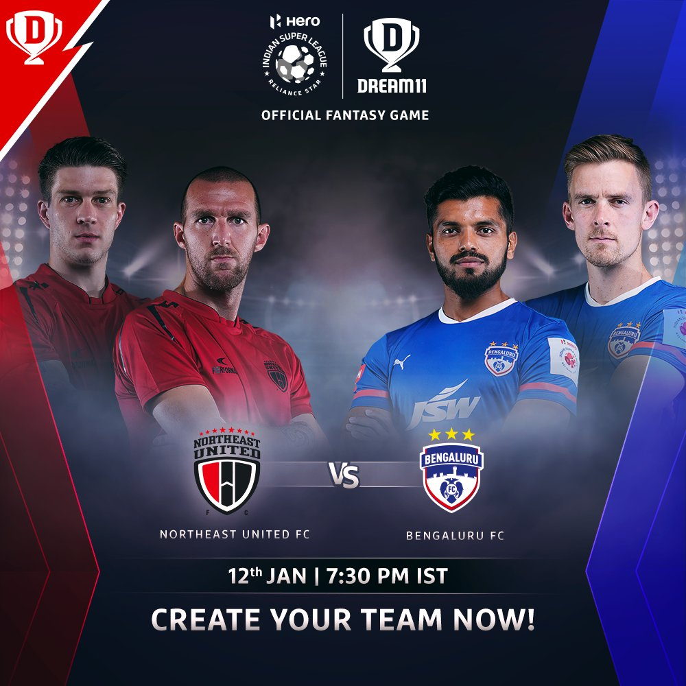 Both @NEUtdFC and @bengalurufc have immensely talented players and would be eager to earn 3 important points when they meet today in the #HeroISL 🧐  Download the app and create your #Dream11. Click: . #LetsFootball #NEUBFC @IndSuperLeague