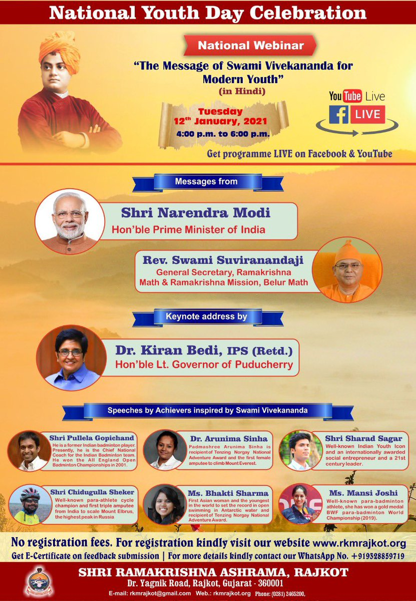 About to. At 4 PM. #RamaKrishnaMission #SwamiVivekanandaJayanti  by #thekiranbedi via Unfollowers
