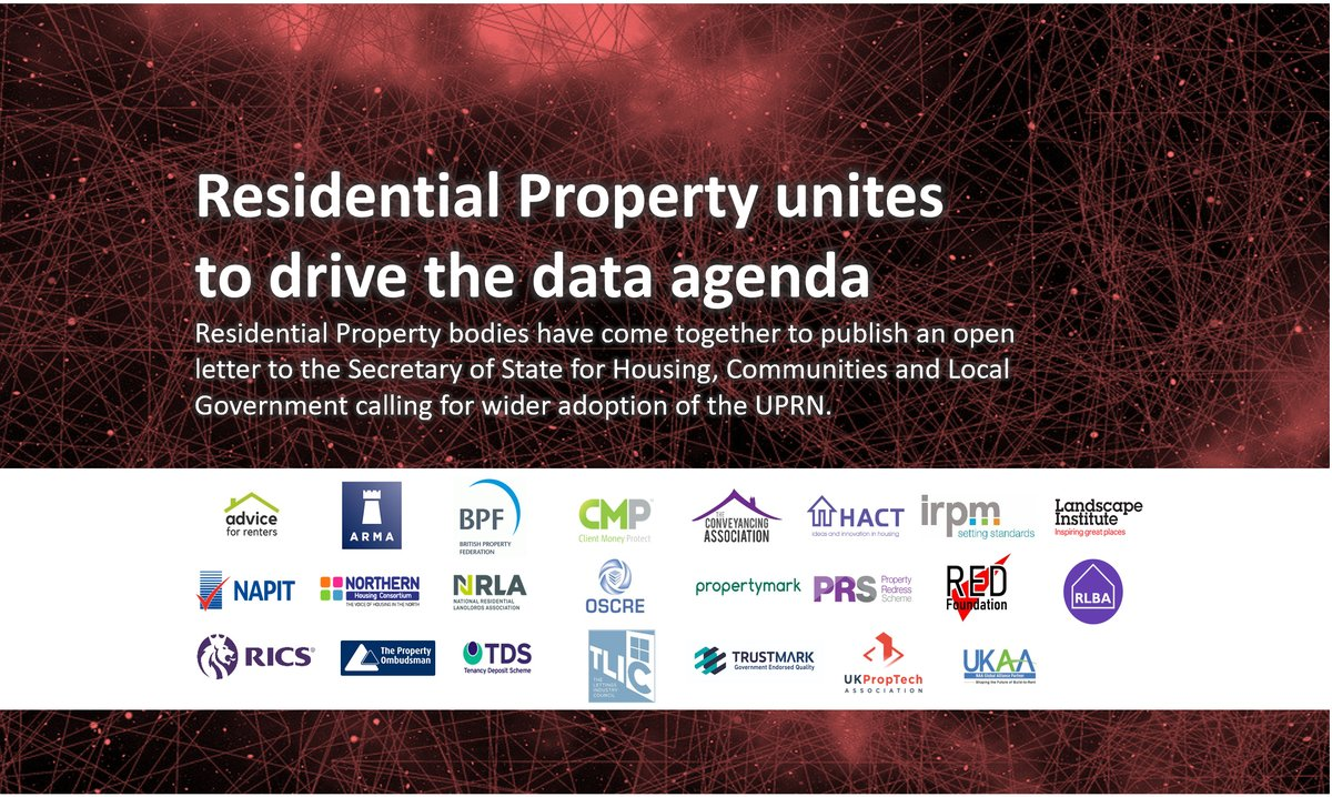 Today, along with others leading organisations, we have signed an open letter to @mhclg urging action to support the wide use of a #UPRN across the whole residential property sector for the benefit of residents, society and the economy