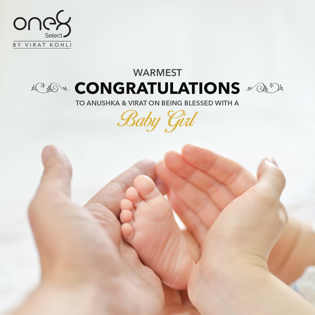 Congratulations to the proud new parents @imVkohli @AnushkaSharma on the arrival of their baby girl. May she be blessed with great health, love and joy. #one8 @one8world  . . #viratkohli #congratulations #anushkasharma #one8select #one8family #family #daughter #newborn #parents