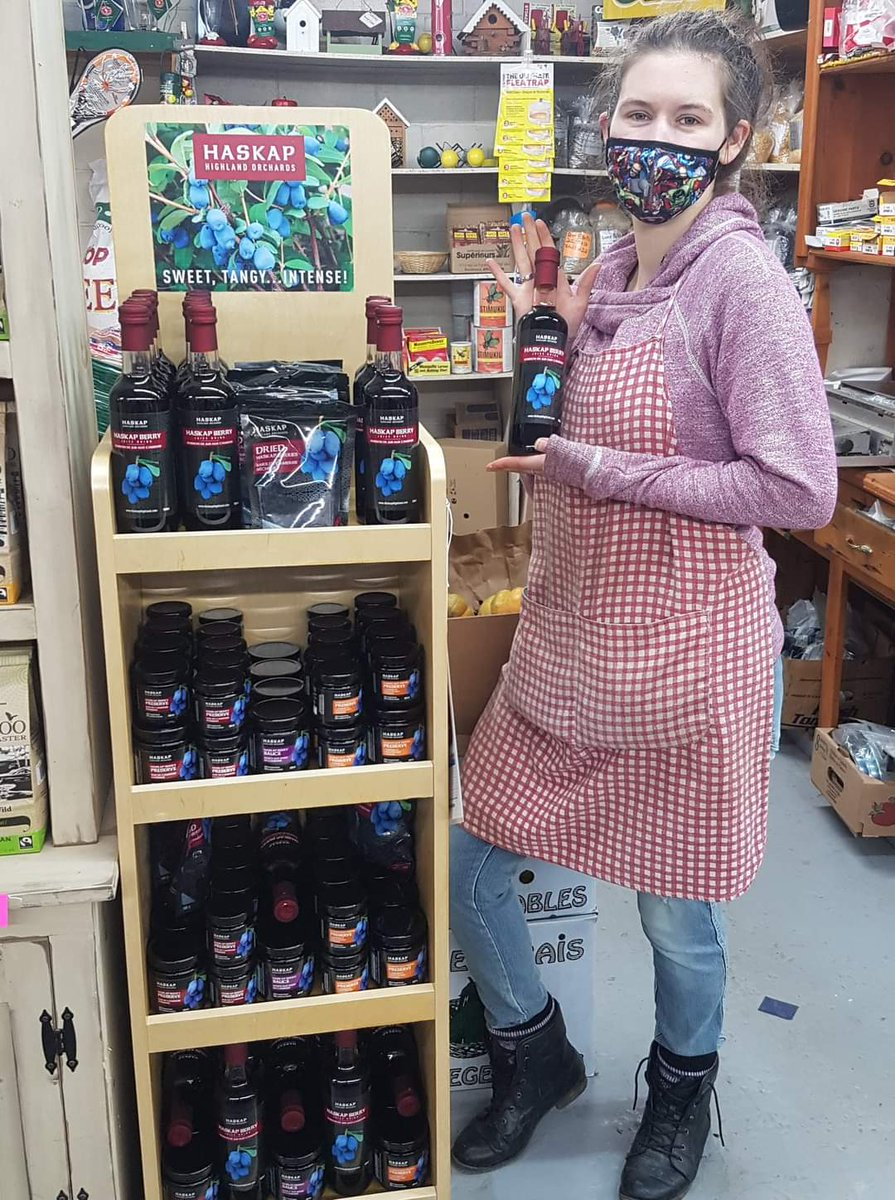 Tanya at   Dayton Fruit Stand is happy to offer our #Haskap juice, dried Berries & #preserves in  #Yarmouth Tri County region✅ Stop in & check it out ! Support local shops & #farmers  #supportlocal #farminginnovascotia #NovaScotia #Superberry #superfruit #superfood #foodies https://t.co/FisEVTlex2