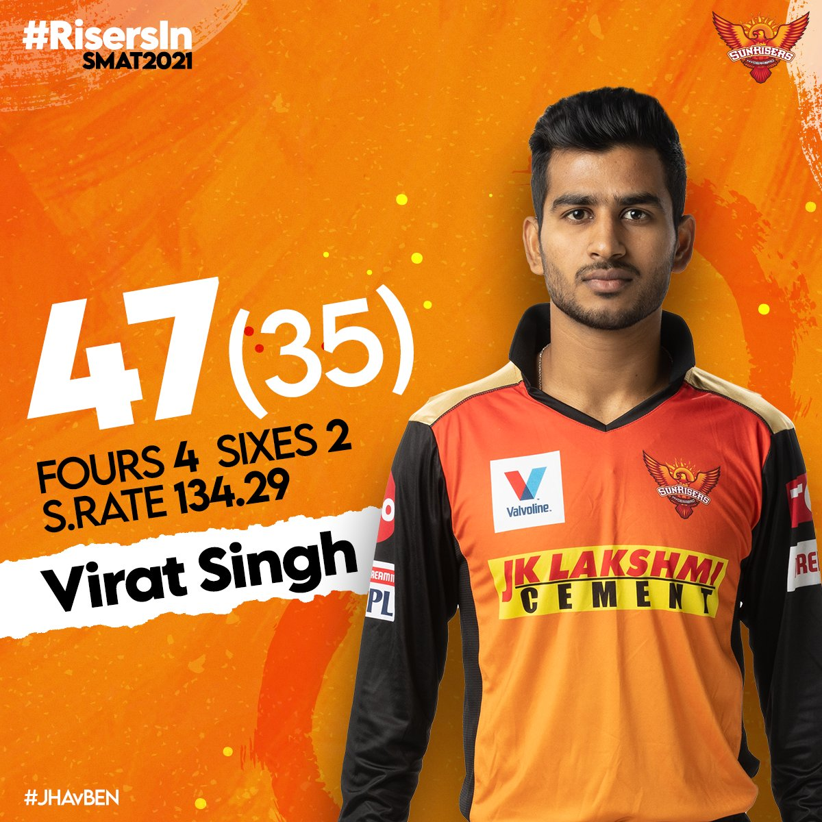 Our riser @virat_80 added to the run chase for Jharkhand as they fall short to reach the 🎯  #JHAvBEN #RisersInSMAT2021 #OrangeArmy #KeepRising