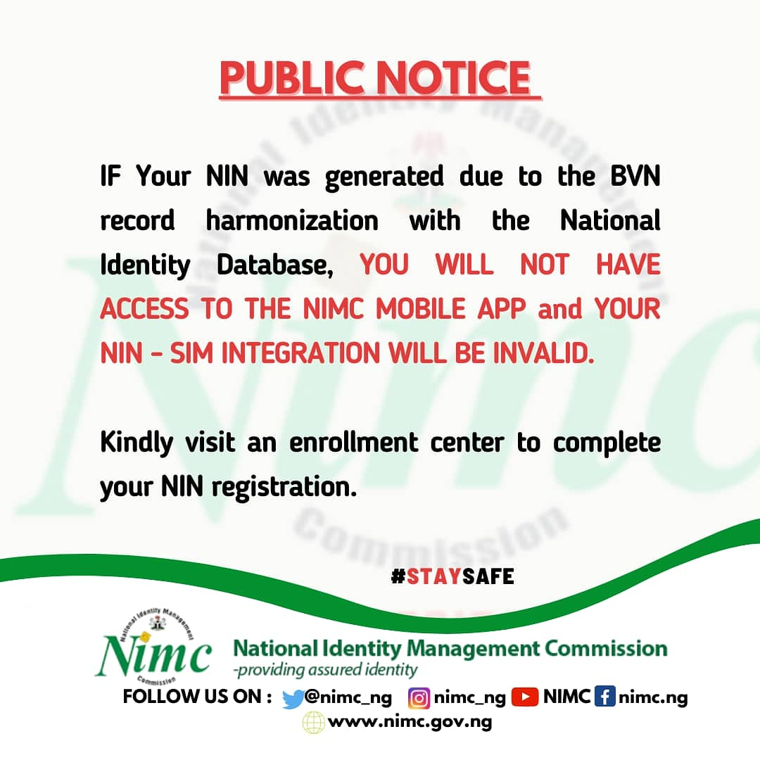You MUST complete your NIN registration even if your BVN has generated a NIN. @DrIsaPantami  @aliyuaziz  @FMoCDENigeria @nimc_ng @NgComCommission  @NITDANigeria @Galaxybackbone @ConsumersNCC  @NIPOSTNG  @UwaSuleiman https://t.co/2qefXknPkY