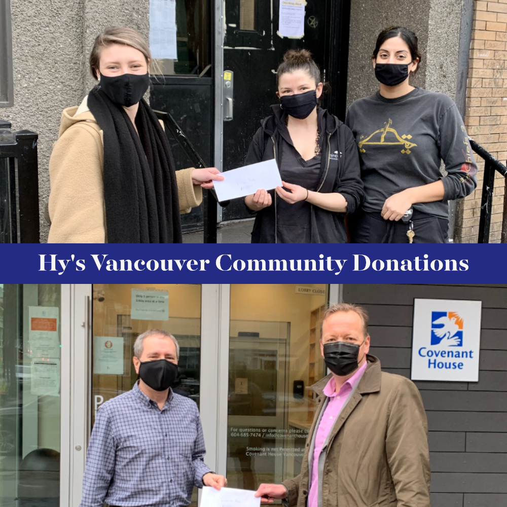 The giving season continues at Hy's. This week, our Vancouver location donated $2039.35 collected over the holidays to local charities - @CovenantHouseBC  & @raincityhsg  Vivian house. Well done team!  💗#hyshelps
