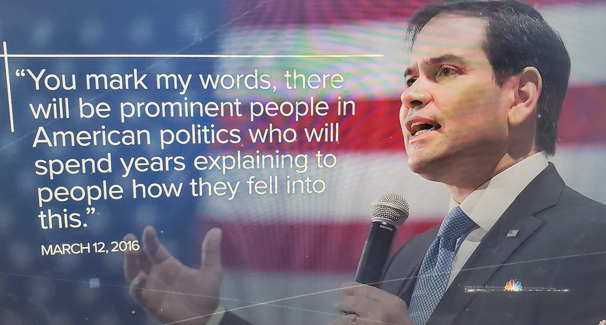 Hey @marcorubio you can spend as many years as you want explaining your last 4 yrs being on your knees to #madkingtrump but the #trumpstink isn't ever coming off  you.   #COWARD