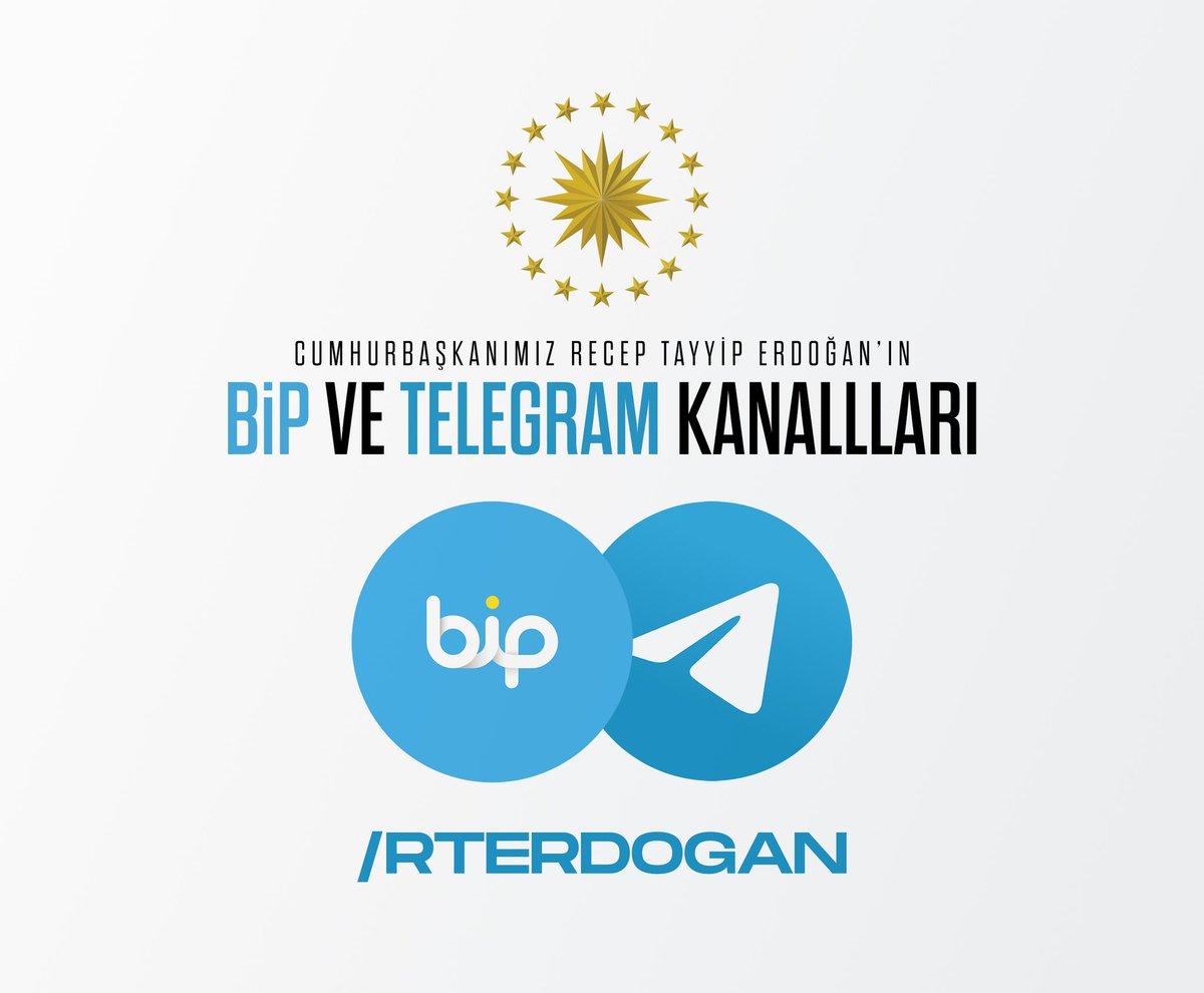 Cumhurbaşkanımız @RTErdogan, haberleşme uygulamaları BiP ve Telegram'da.  Katılmak için;  BiP:    Telegram: