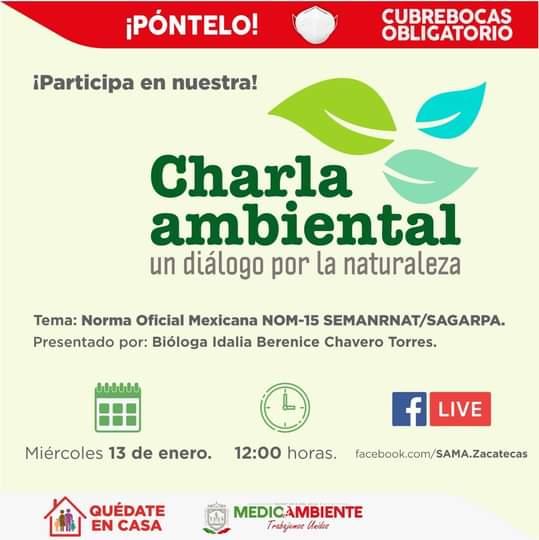 ♻ | ¡Imperdible! Te invitamos a nuestra charla ambiental el día de mañana. 🌳🍃 ¡Síguela en vivo a través de nuestra página de Facebook! #SeguimosCumpliendo 🌱🌍🌻