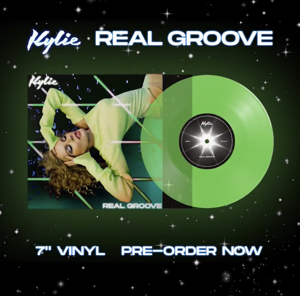 @kylieminogue #RealGroove #green #7inch #vinyl ordered!! 😁👍🏻🎶💃🏼🕺🏼 #BSide includes #Studio2054 #Remix with @dualipa xx