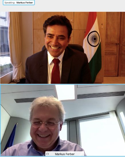 Great conversation with Hon'ble @MarkusFerber MdEP today on advancing #IndiaGermany trade & investment relationship, closer cooperation among democracies & combating cross-border terrorism. With vaccines, we work together to restore normalcy for prosperous shared future