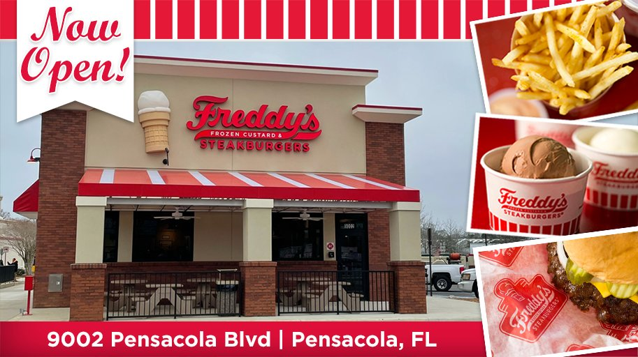 Pensacola, we are now open and ready to serve you the Freddy's Way! Stop by and see us!