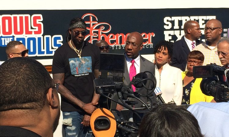 In 2016, Rev. @RaphaelWarnock, senior pastor of Ebenezer Baptist Church, Atlanta rapper @2chainz & @nseufot , executive director of the @NewGAProject will urge African Americans, Latinos & young Georgians to exercise their sacred & civic right to vote.