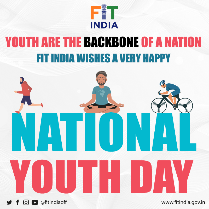 """Everything is easy when you are busy. But nothing is easy when you are lazy.""  Let's implement the great #SwamiVivekananda's ideology in our lives. Let's leave laziness and become fit & active to make India a great nation!   #NationalYouthDay2021 #NewIndiaFitIndia"