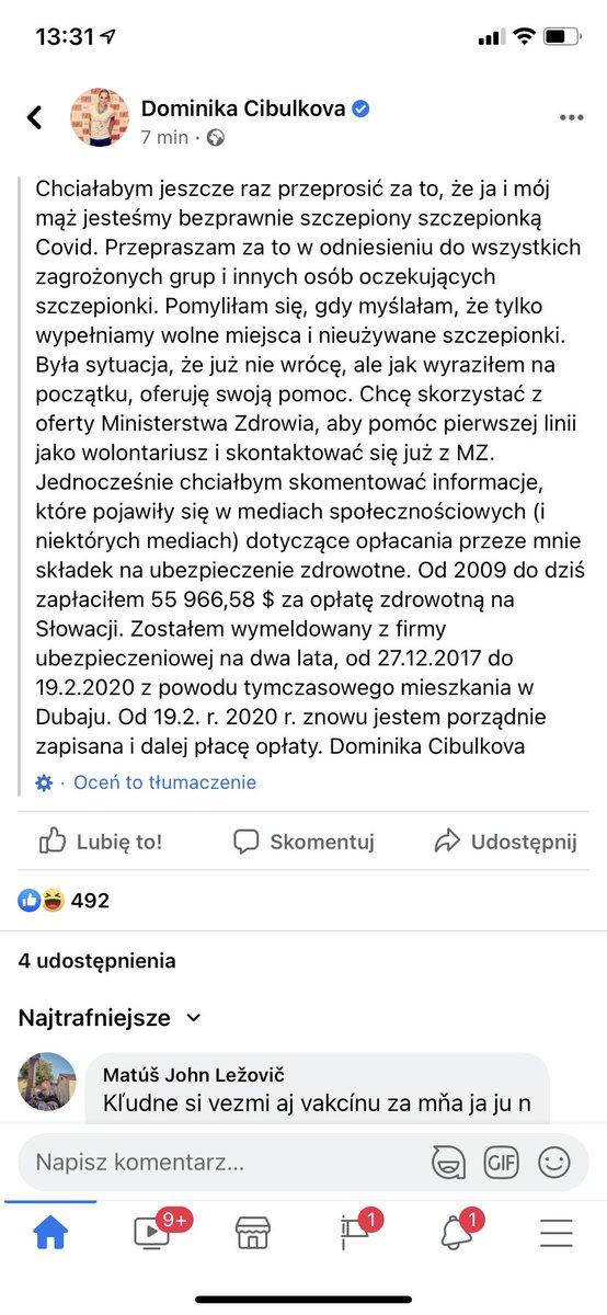 @MarekFurjan Panie Marku, czy wie Pan może o co chodzi z Dominiką Cibulkovą i zamieszaniem wokół szczepień? Od kilku dni wrzuca posty-sprostowania, jakby była tam grubsza afera... https://t.co/7d7joG9UOQ