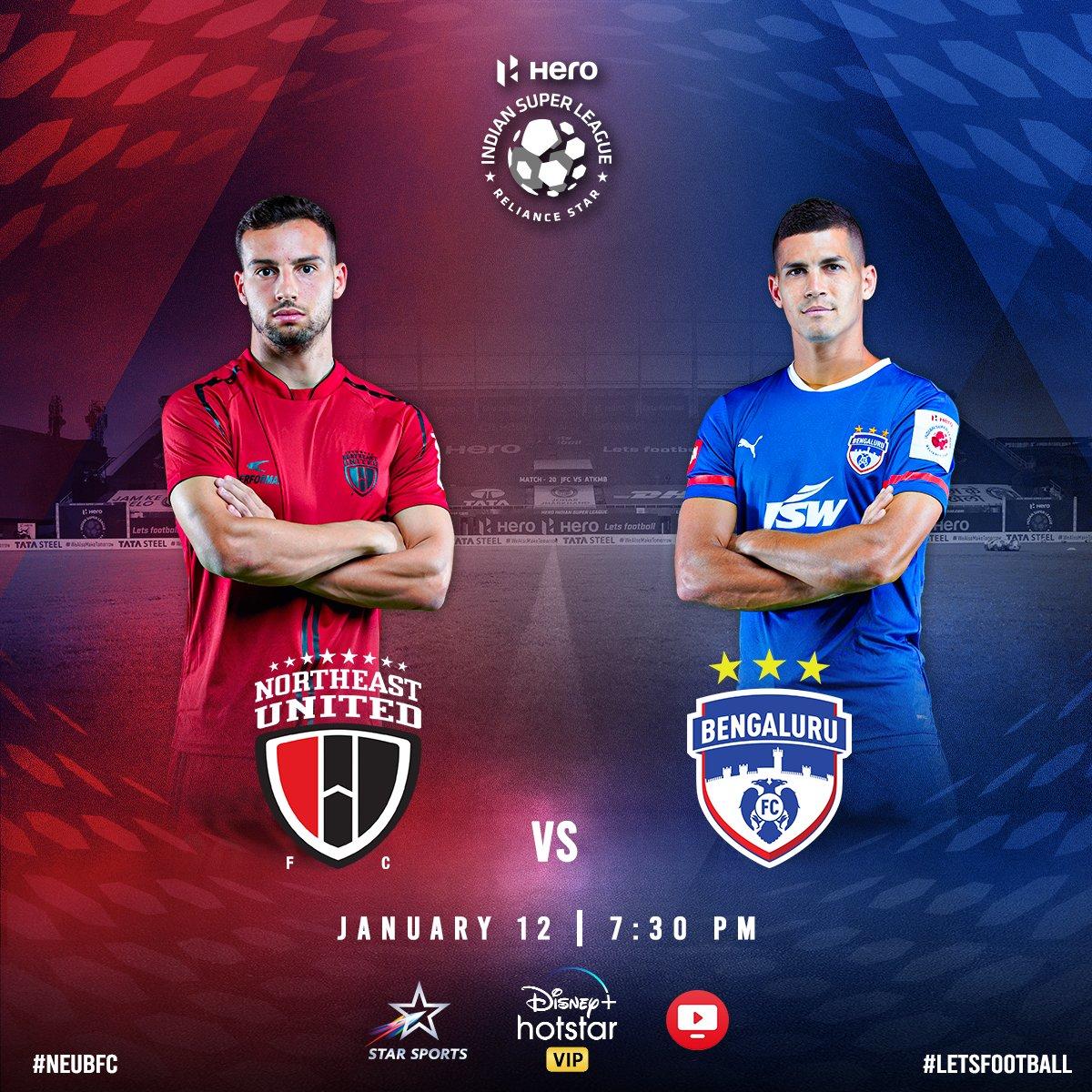 Match 5️⃣6️⃣  NorthEast United FC ⚽ vs Bengaluru FC ⚽  Tonight 7 30 PM 🕢  #NEUBFC   #HeroISL #StrongerAsOne #NEUFC  #WeAreBFC #ISL #LetsFootball https://t.co/XWUuvjCW2p