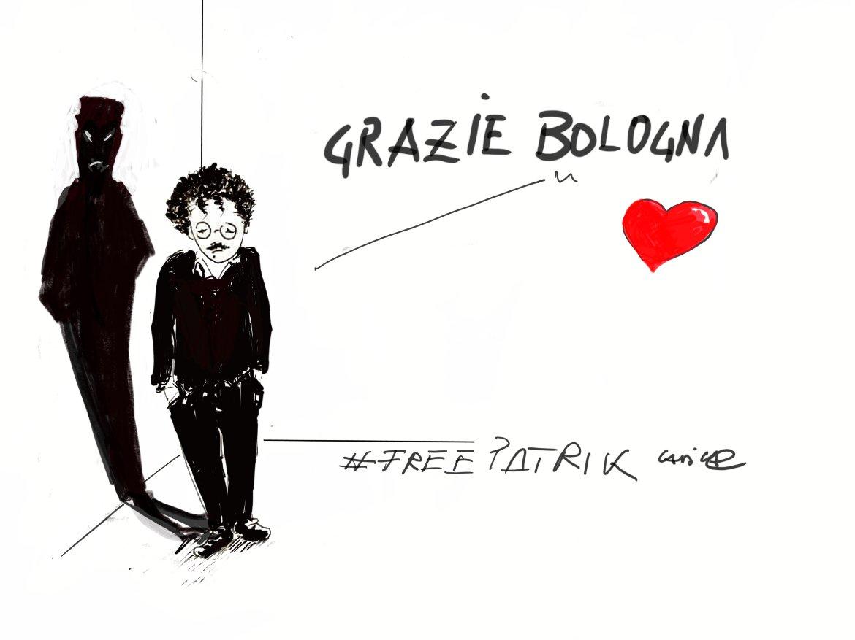 Ieri, a Bologna, è stata approvata in consiglio comunale l'assegnazione della cittadinanza onoraria a #PatrickZaki  Così Carlodicamillo Cadica, in arte Cadica  #freepatrickzaki  #vignettistiperlacostituzione 🇮🇹