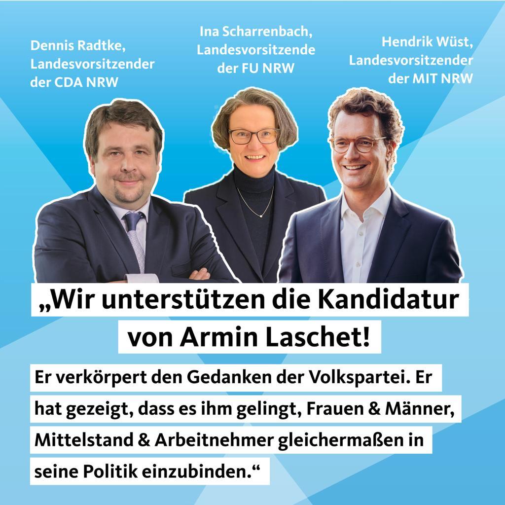 3 Vereinigungen, 3 unterschiedliche Typen, 1 Meinung: @ArminLaschet soll unser @CDU Bundesvorsitzender werden! @inascharrenbach @HendrikWuest   #teamLaschetSpahn  #laschet #cdu #CDUVorsitz https://t.co/gKbVWvC9O1