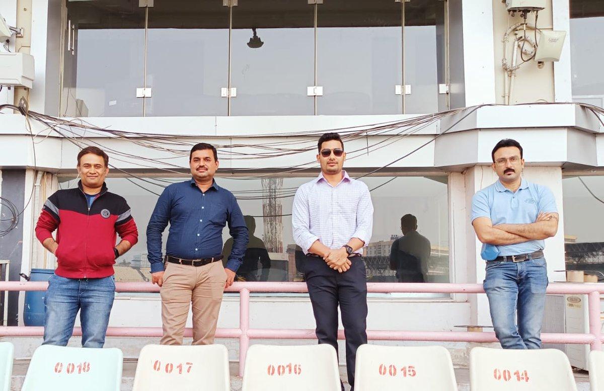 Bengal selectors #AlokenduLahiri, #AjayDas, #SubhomoyDas & #ProbalDutta watching Bengal's match against Jharkhand at #EdenGardens today. #CAB #SyedMushtaqAliTrophy #JHAvBEN
