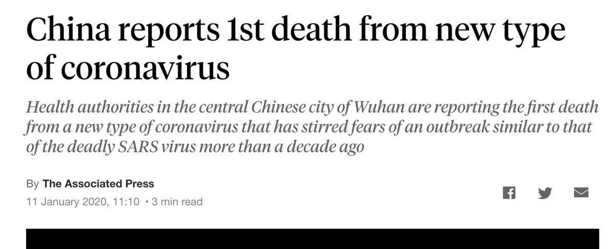 """January 11th, 2020:   The first death from """"novel coronavirus"""" is reported in the media, having occurred on January 9th.   Public Health England publishes new guidelines for hospitals, including a section on safely handling the corpses of infected patients"""