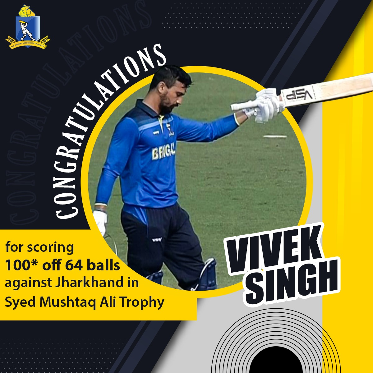 Outstanding #VivekSingh wins it again for #TeamBengal! His maiden unbeaten T20 century propels Bengal to a victory against Jharkhand.   #CAB #SyedMushtaqAliTrophy #JHAvBEN