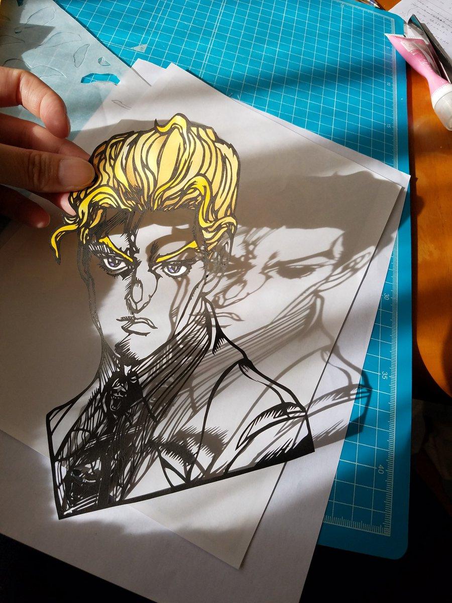 #お前よくぞそんなもん撮ってたな選手権 吉良吉影の切り絵作ってたら偶然にも影が川尻浩作😂