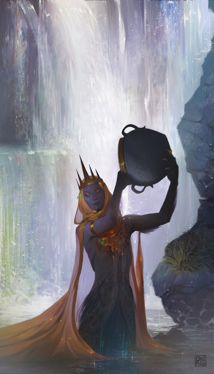 Hey #PortfolioDay ! My name's rhi/ash and I really like painting fantasy ♥️