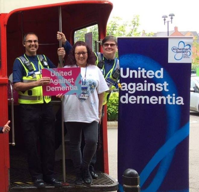 We love this photo (taken pre-pandemic) of Champion Steph in her Dementia Friends T-shirt. Click the link to read about Steph and the incredible things she has done to raise awareness in Northamptonshire Police, and beyond!